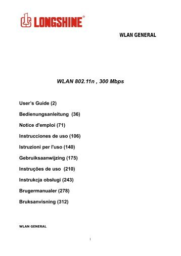 WLAN GENERAL WLAN 802.11n , 300 Mbps - Network - LONGSHINE