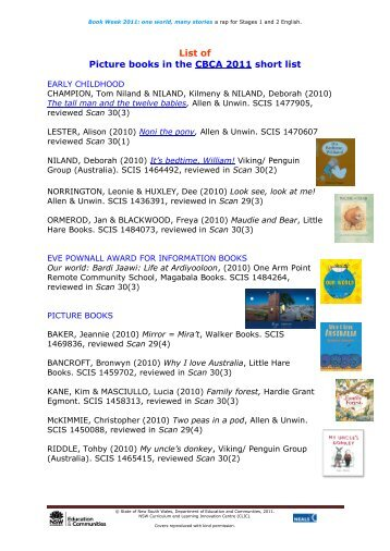 List of Picture books in the CBCA 2011 short list