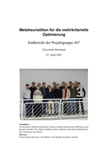 Metaheuristiken f ¨ur die mehrkriterielle Optimierung Endbericht der ...