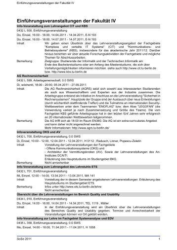 Einführungsveranstaltungen der Fakultät IV - TU Berlin