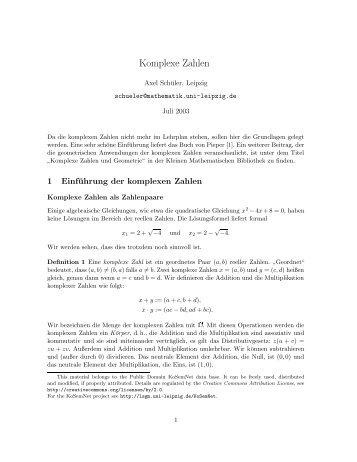 Komplexe Zahlen - LSGM