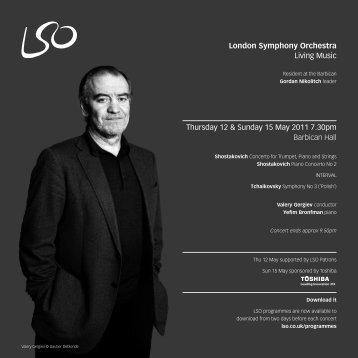 Thursday 12 May programme - London Symphony Orchestra