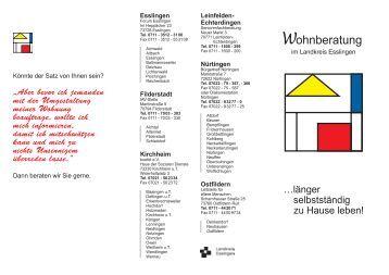 Wegweiser psychiatrie baden w rttemberg landkreis esslingen for Wohnberatung