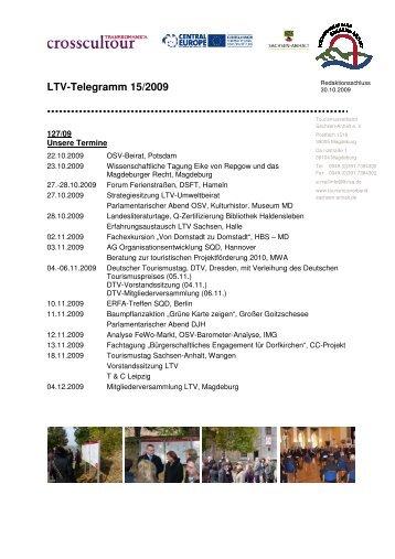 LTV-Telegramm 15/2009 - Tourismusverband Sachsen-Anhalt