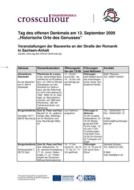 Termine Tag des offenen Denkmals Sachsen-Anhalt 2009