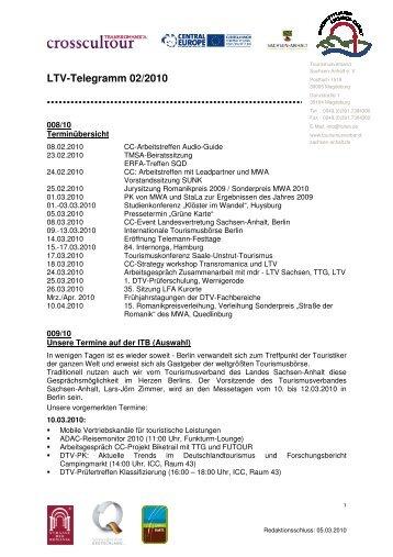 LTV-Telegramm 02/2010 - Tourismusverband Sachsen-Anhalt