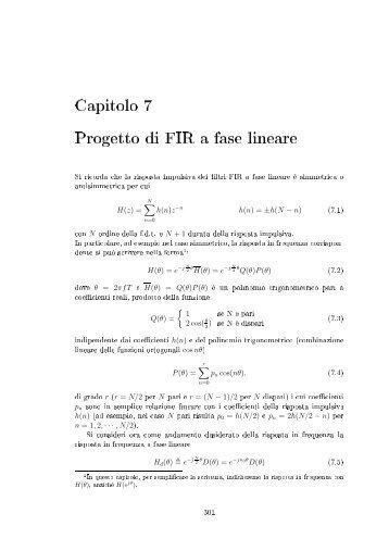 Capitolo Progetto di FIR a fase lineare Si ricorda che la risposta ...