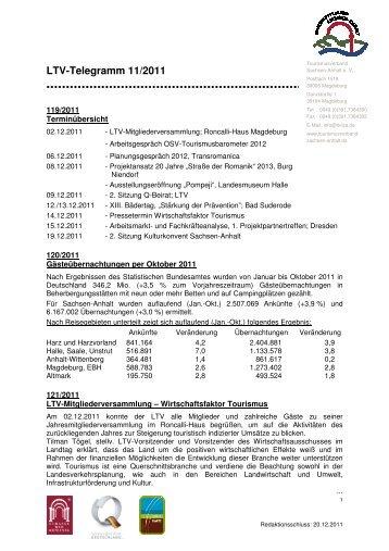 LTV-Telegramm 11/2011 - Tourismusverband Sachsen-Anhalt