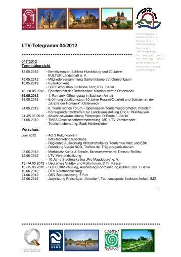 LTV-Telegramm 04/2012 - Tourismusverband Sachsen-Anhalt