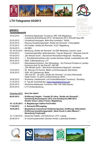 LTV-Telegramm 03/2013 - Tourismusverband Sachsen-Anhalt