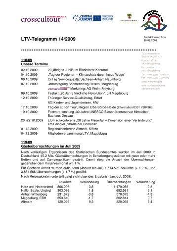 LTV-Telegramm 14/2009 - Tourismusverband Sachsen-Anhalt