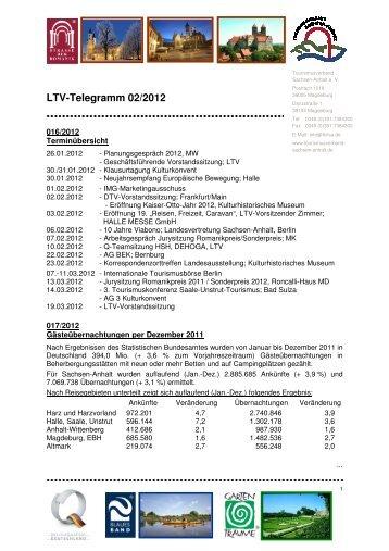 LTV-Telegramm 02/2012 - Tourismusverband Sachsen-Anhalt