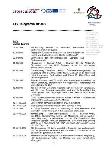 LTV-Telegramm 10/2009 - Tourismusverband Sachsen-Anhalt