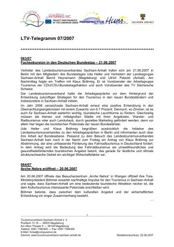 LTV-Telegramm 07/2007 - Tourismusverband Sachsen-Anhalt