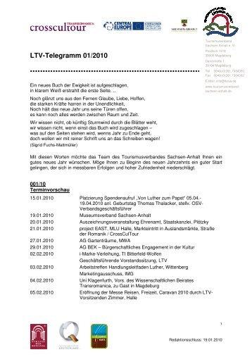 LTV-Telegramm 01/2010 - Tourismusverband Sachsen-Anhalt