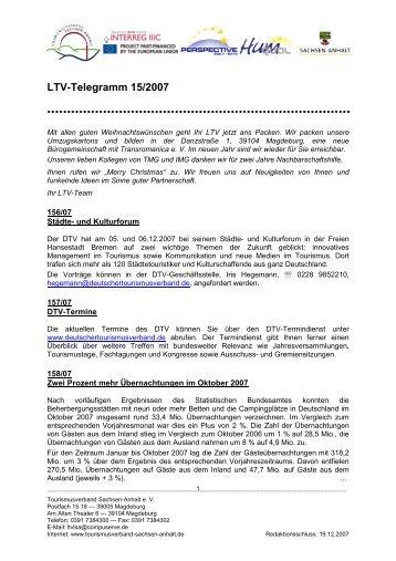 LTV-Telegramm 15/2007 - Tourismusverband Sachsen-Anhalt