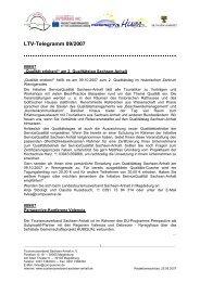 LTV-Telegramm 09/2007 - Tourismusverband Sachsen-Anhalt