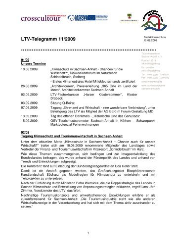 LTV-Telegramm 11/2009 - Tourismusverband Sachsen-Anhalt