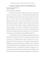 Fog and Steel: Translation Networks in the World Republic of Letters ...