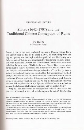 Shitao (1642-1707) and the Traditional Chinese Conception of Ruins