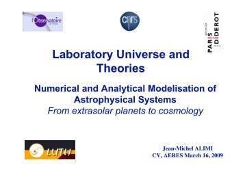 Astrophysical Modelisation - LUTH - Observatoire de Paris
