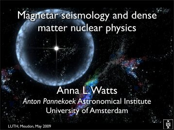 Magnetar seismology and dense matter nuclear physics ... - LUTH