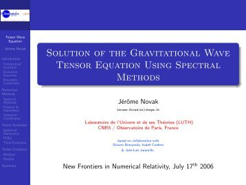 Solution of the Gravitational Wave Tensor Equation Using Spectral ...