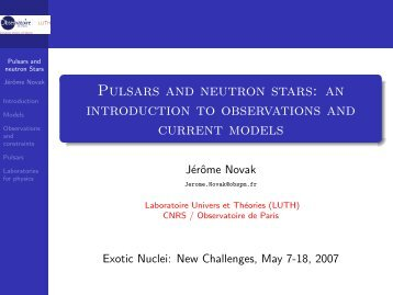 Pulsars and neutron stars - LUTH - Observatoire de Paris