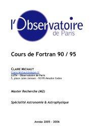 Cours de Fortran 90 / 95 CLAIRE MICHAUT - LUTh - Observatoire ...