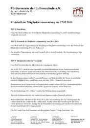 Förderverein – Protokoll Mitgliederversammlung 2013 - Lutherschule