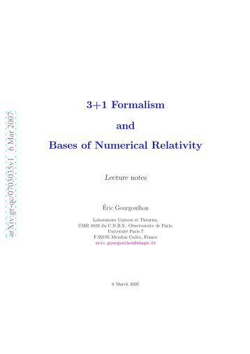 3+1 formalism and bases of numerical relativity - LUTh ...