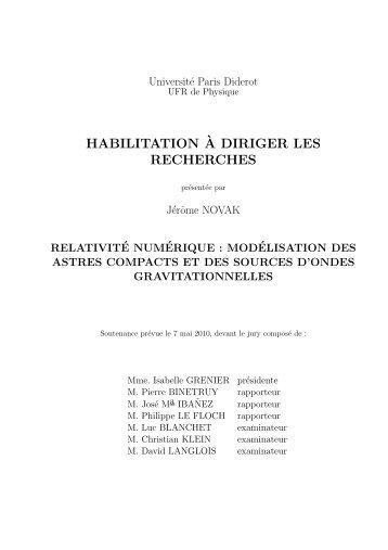 habilitation`a diriger les recherches - LUTH - Observatoire de Paris