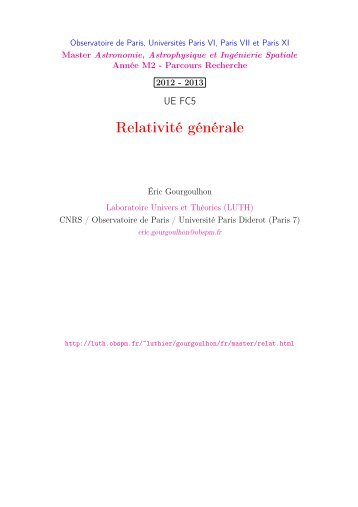Relativité Générale - LUTh - Observatoire de Paris