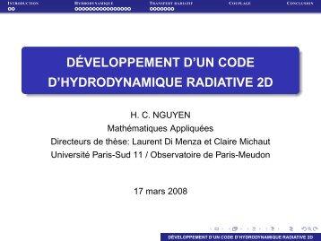 développement d'un code d'hydrodynamique radiative 2d - LUTh ...