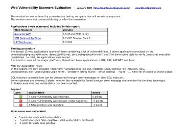 Web Vulnerability Scanners Evaluation