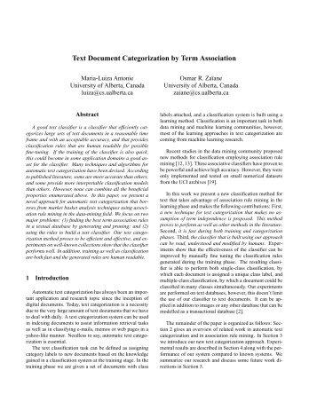 Text Document Categorization by Term Association