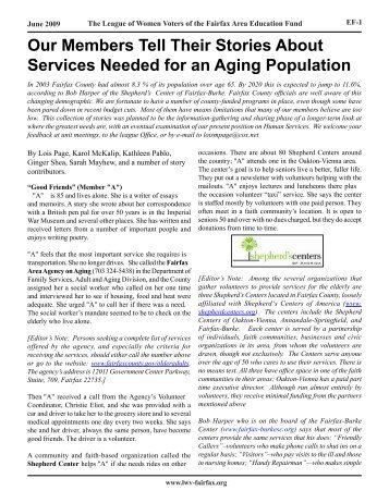 Our Members Tell Their Stories About Services Needed for an Aging ...