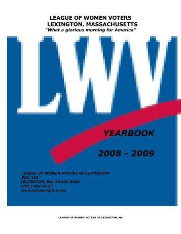 YEARBOOK 2008 - 2009 - League of Women Voters of Lexington