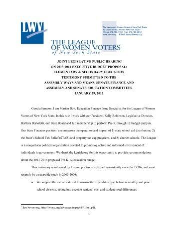 Testimony Before Joint Legislative Committees on 2013-2014 ...