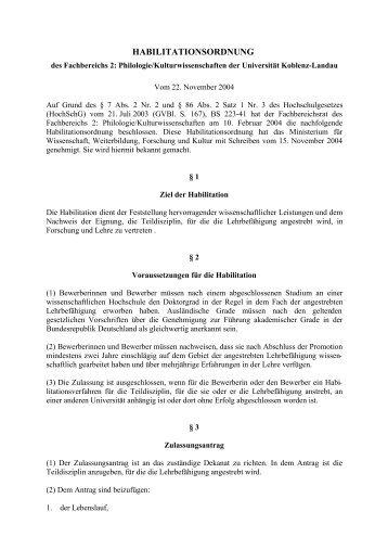 HABILITATIONSORDNUNG - Universität Koblenz · Landau