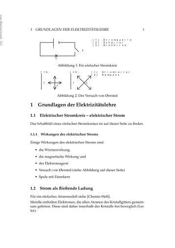 1. Grundlagen der Elektrizitätslehre Die elektrische Spannung ...
