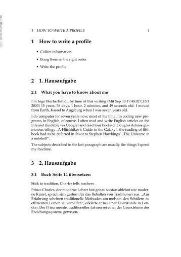 1 How to write a profile 2 1. Hausaufgabe 3 2. Hausaufgabe