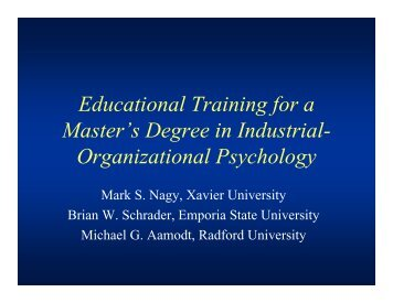 Educational Training for a Master's Degree in Industrial - Radford ...