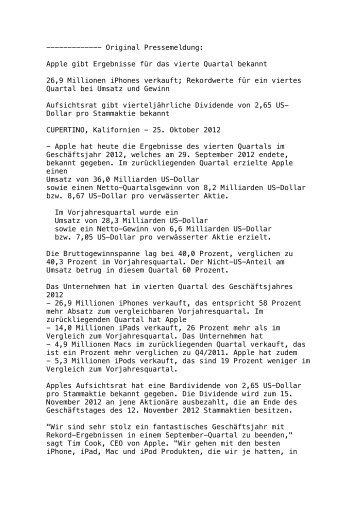 Apple Ergebnisse 4. Quartal (Pressemeldung) - MAC e.V.