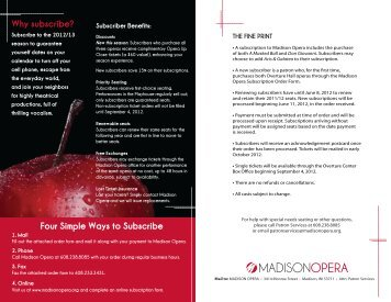 Details and Ordering Procedures - Madison Opera