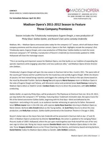 Madison Opera's 2011-2012 Season to Feature Three Company ...