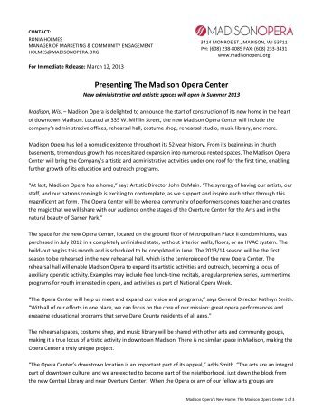 Presenting The Madison Opera Center: New administrative and ...