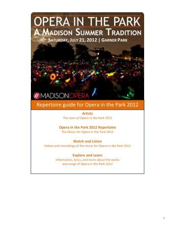 Repertoire guide for Opera in the Park 2012 - Madison Opera