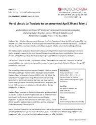 Verdi classic La Traviata to be presented April 29 ... - Madison Opera