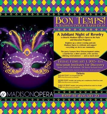 A Jubilant Night of Revelry - Madison Opera